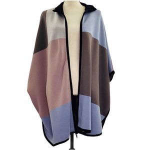 Ann Klein Heavyweight Color Block Zip Front Poncho